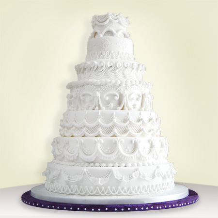 7 Tier Royal Piped Icing Wedding Cake