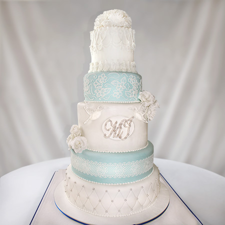 Grand Five Tier Lace and Birds Wedding Cake