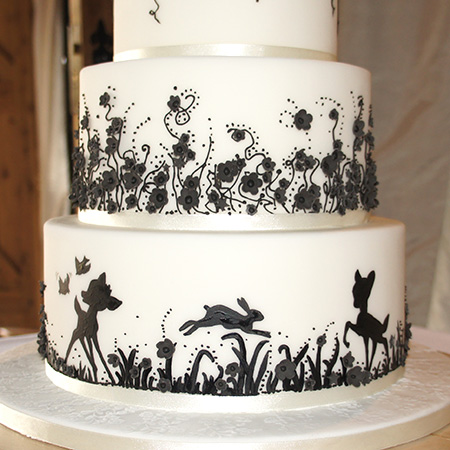 Black and white silhouette wedding cake hand painted black silhouette with sugar flowers mightylinksfo