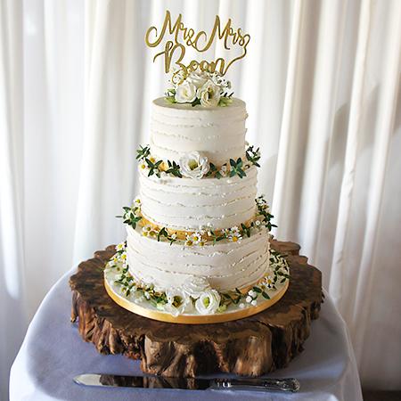 Buttercream Wedding Cakes.Ruffled Buttercream With Flowers Wedding Cake