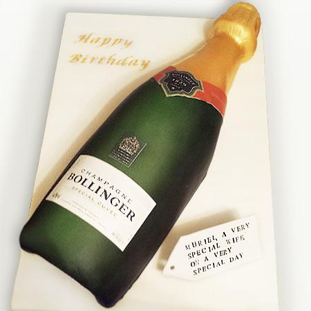 Bollinger Champagne Bottle Birthday Cake